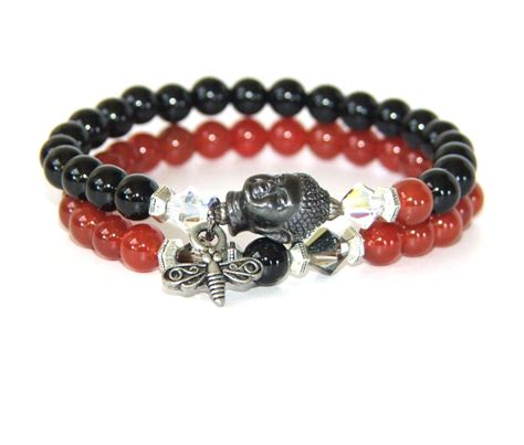 buddha bracelet buddha bracelet set of 2 stretch bracelets gemstone