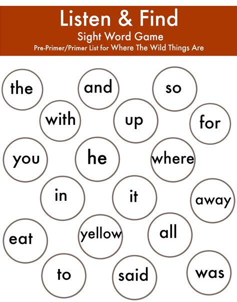 Where the wild things are preprimer and primer sight words