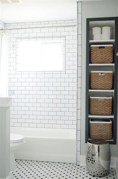recessed shelves in bathroom recessed vertical bathroom shelves with seagrass bins