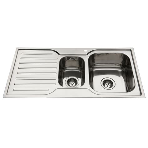 1 1 2 bowl kitchen sink everhard 980mm squareline 1 and 1 2 bowl kitchen sink with