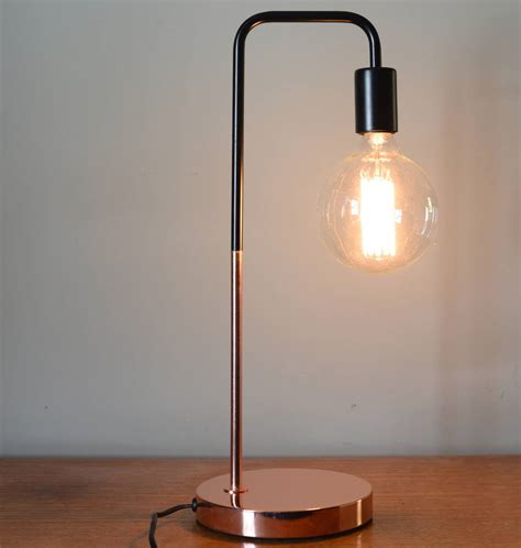 desk with light black and copper slim desk l by the forest co