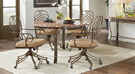 alegra metal 5 pc round dining set with stone top dining