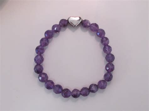 bracelet with amethyst bracelet with sterling silver bead made