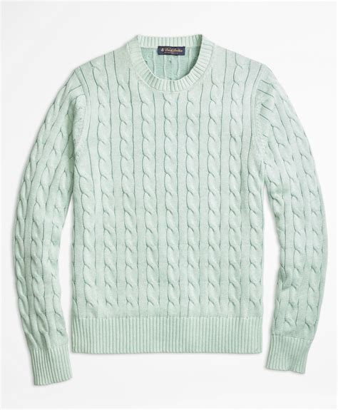 green cable knit sweater brothers heathered cable knit crewneck sweater in
