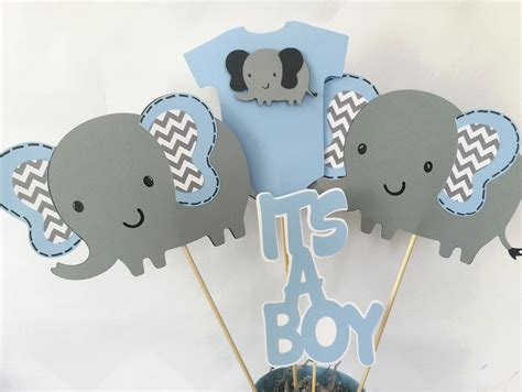 elephant themed baby shower centerpieces elephant baby shower centerpiece in blue and gray