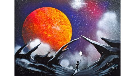 spray paint tutorial space easy how to make this galaxy lanscape using acrylic paints