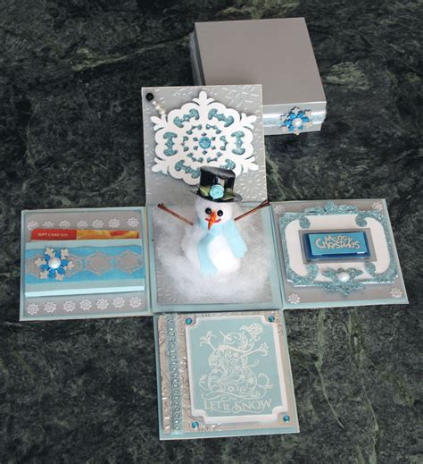 how to make gift card box croatian crafter snowman explosion box gift card holder