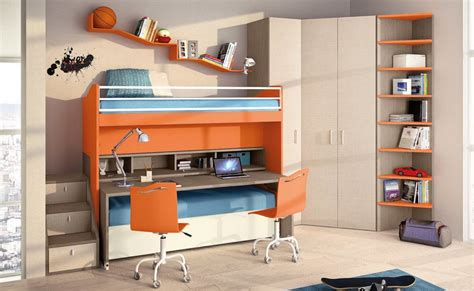 space saving childrens bedroom furniture bed desk combos save space and add interest to small rooms