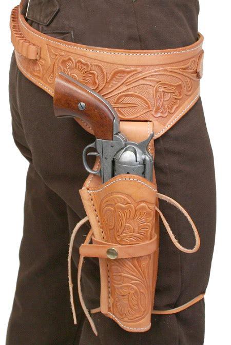leather gun belt and holster 44 45 cal western gun belt and holster rh draw brown tooled leather