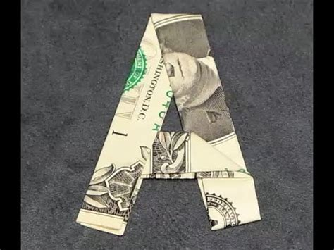 dollar bill origami letters fold origami dollar bill alphabet letter a