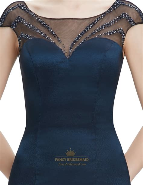 blue beaded top navy blue sheer back prom dresses with beaded top fancy