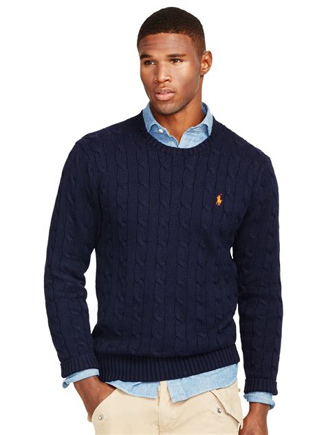 ralph navy cable knit jumper polo ralph cable knit crew neck jumper in blue for