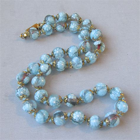 glass bead jewelry 1950 s vintage venetian blue millefiori glass bead