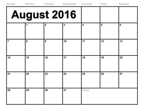 for printable august 2016 calendar printable template with holidays pdf