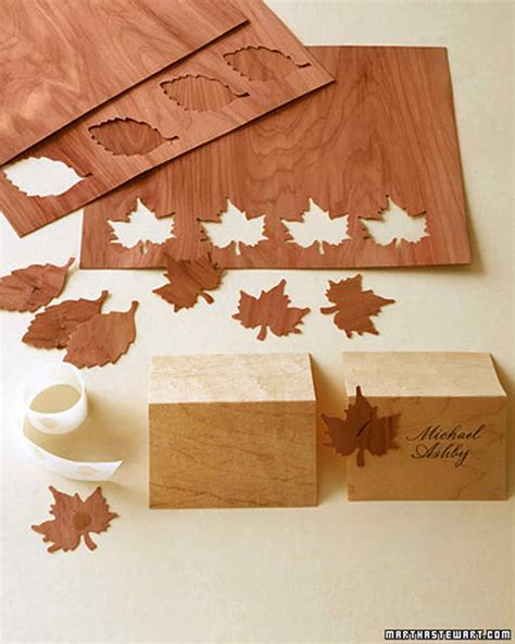 wood veneer craft projects wooden seating cards martha stewart