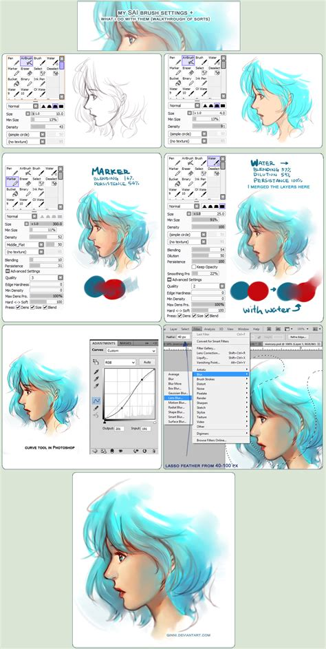 re paint tool sai sai brush setting how they re used walkthrough by qinni