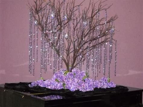 tree wedding centerpieces tree centerpeices with hanging crystals weddingbee