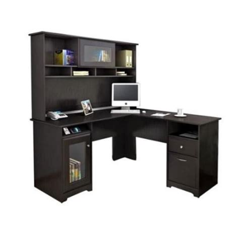 walmart l shaped computer desk bush cabot l shaped computer desk with hutch in espresso