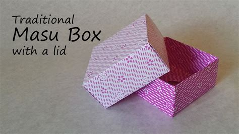how to make origami box with lid easy origami masu box with lid tutorial