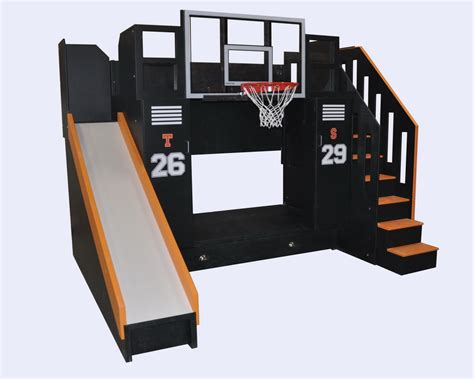 on bunk beds the ultimate basketball bunk bed backboard slide and more