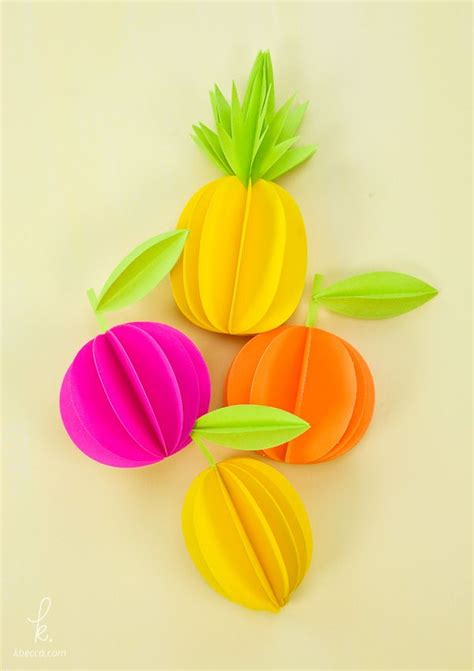 paper pineapple craft 3d paper pineapple citrus fruits free templates