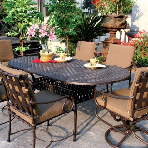 cast aluminum patio furniture sets darlee malibu 6 person cast aluminum patio dining set