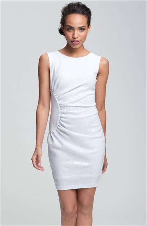 white ponte knit dress alexia admor sequined ponte knit sheath dress in white lyst