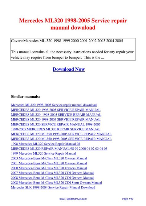 service manual service manual for a 1999 mercedes benz slk class mercedes slk 1998 2004 mercedes ml320 1998 2005 service repair manual by hong lee issuu