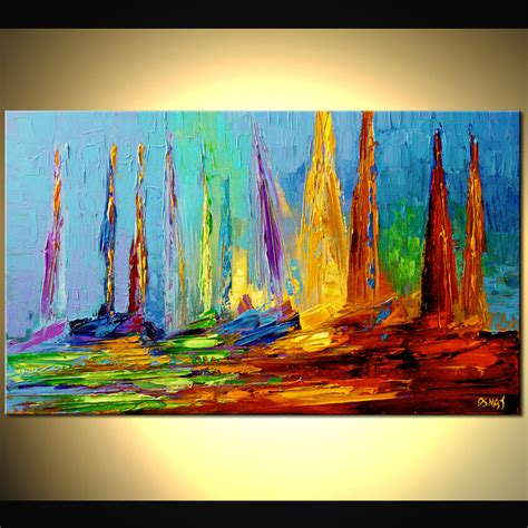 24 quot x14 quot sailing print stretched embellished ready to hang by osnat ebay