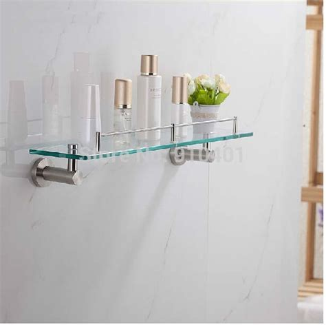 bathroom shelves brushed nickel bathroom shelves glass brushed nickel brown