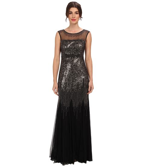 sleeveless beaded illusion gown papell illusion yoke sleeveless beaded gown in