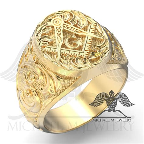 custom make jewelry masonic ring in 14k yellow gold custommade handmade