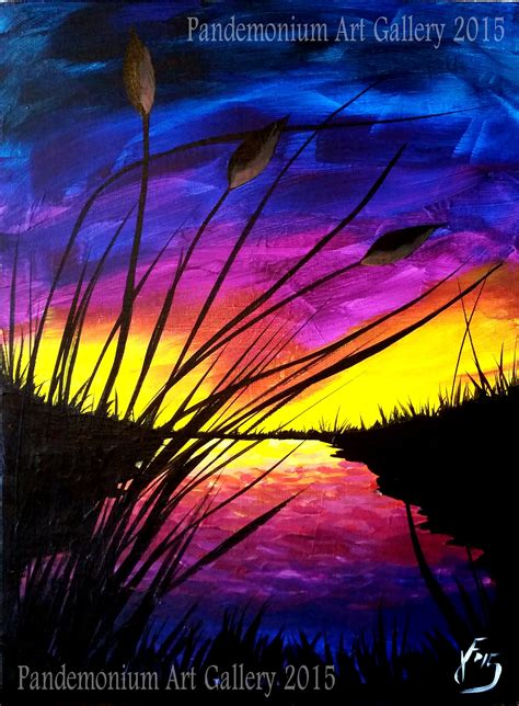 acrylic painting for beginners step by step sunset and cattails step by step painting on canvas for