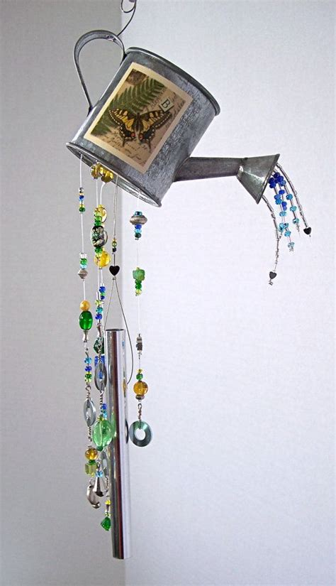 diy beaded wind chimes wind chime small watering can with butterfly garden wind