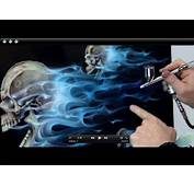 How To Airbursh Real Fire &amp Skulls  Realistic Blue Flames