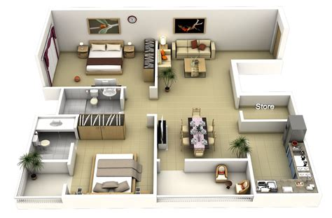 2 bedroom designs 50 3d floor plans lay out designs for 2 bedroom house or