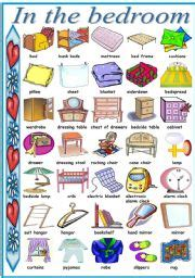 bedroom furniture vocabulary in the bedroom pictionary b w version included
