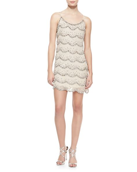 beaded shift dress cusp wes scalloped beaded shift dress in beige clear