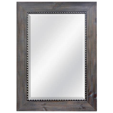 allen roth bathroom mirrors shop allen roth gray with pewter beveled wall mirror at