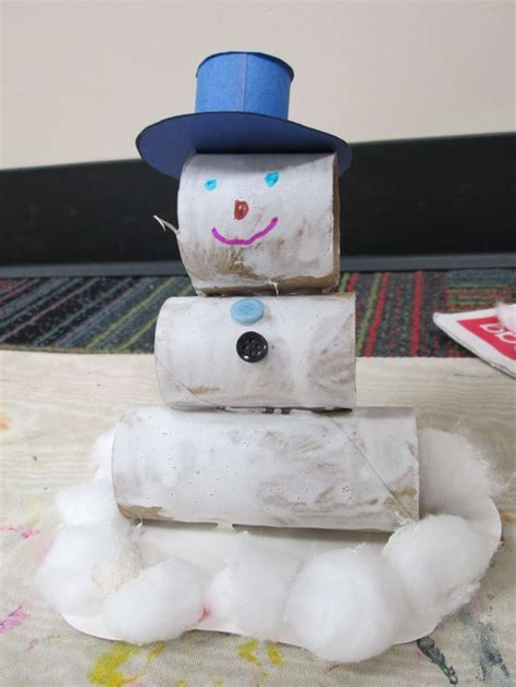 toilet paper roll snowman craft snowman craft with toilet paper rolls kindergarten