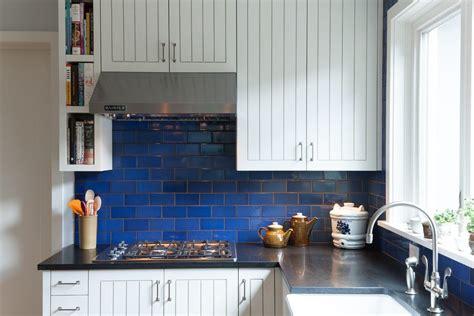 Cobalt blue backsplash kitchen contemporary with bold