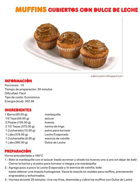 recetas de postres cortas como preparar muffins cubiertos con dulce de leche