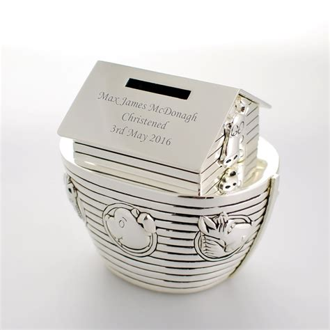engraved gifts personalised noahs ark money box engraved christening gift