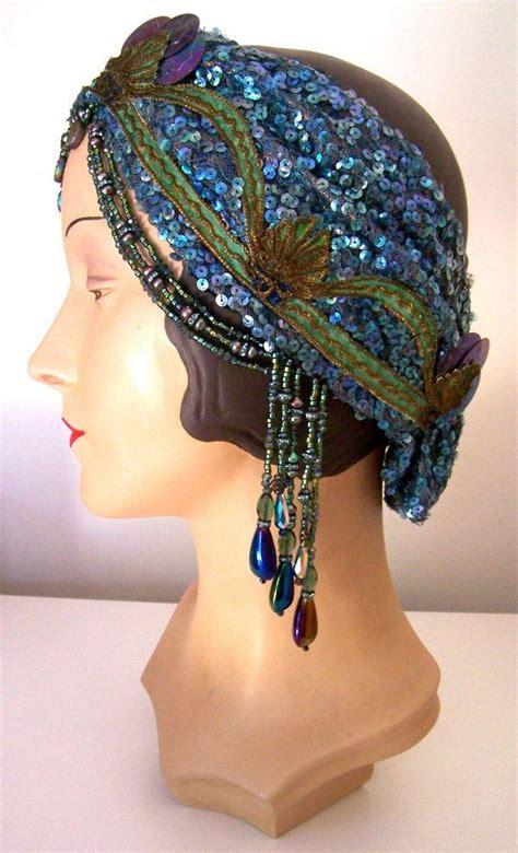 beaded flapper headpiece 20s sequined beaded flapper mermaid headpiece headband