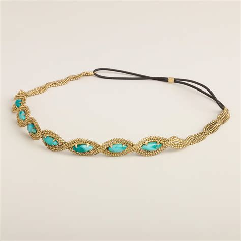 elastic beaded headbands turquoise and gold chain beaded elastic headband world