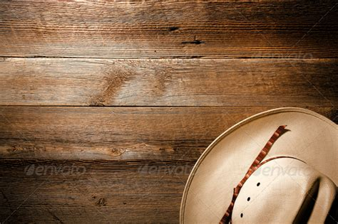 american west rodeo cowboy hat on wood background stock