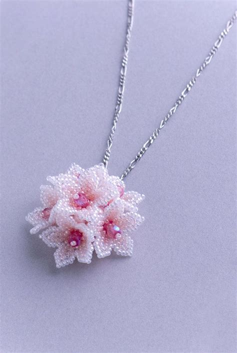 beaded flower pink flower dome pendant cherry blossom jewelry lovely