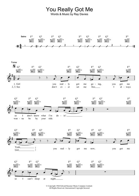 picture book kinks chords the kinks you really got me sheet at stanton s