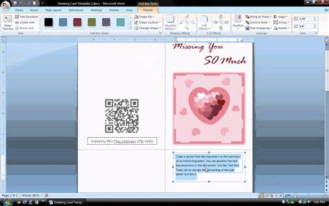 make a card with word ms word tutorial part 1 greeting card template
