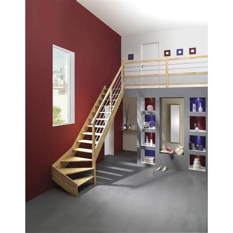 escalier quart tournant bas droit structure bois marche bois leroy merlin